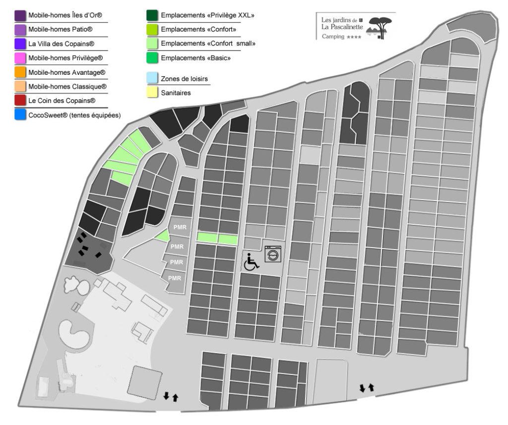 Situation Stellplätze « Confort Small » : Kleines Zelte & Wohnwagen