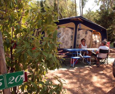 Schattige Stellplätze auf einem Campingplatz in Südfrankreich
