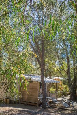 Mobilhaus der Luxusklasse auf einem naturnahen und ökologisch sinnvoll geführten Campingplatz