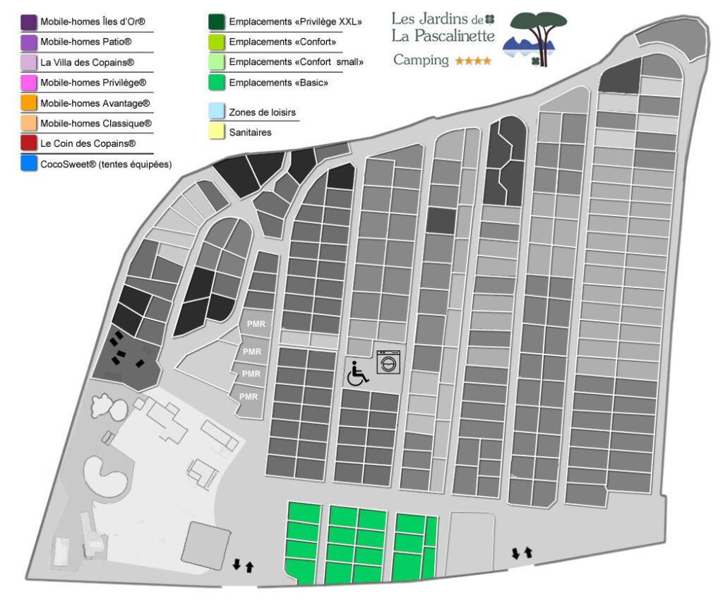 Situation Stellplätze « Confort » : Wohnwagen & Wohnmobile