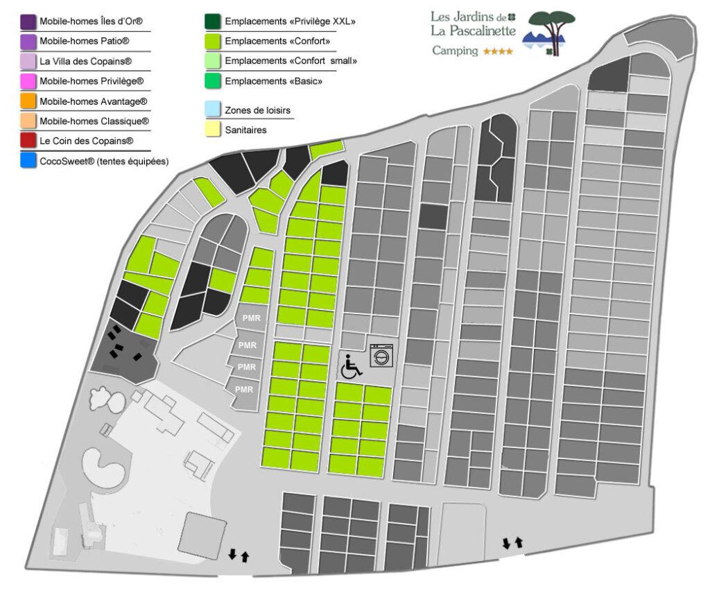 Situation Stellplätze « Confort » : Zelte, Wohnwagen & Wohnmobile