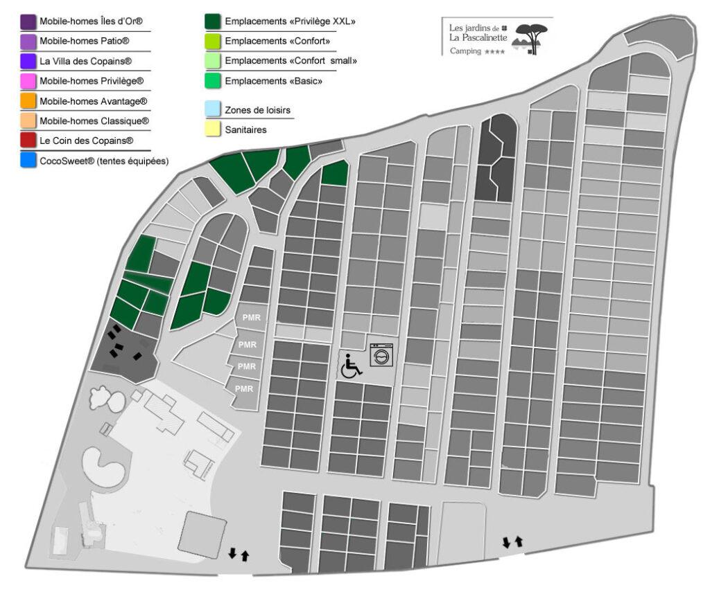 Situation Stellplätze « Privilège XXL » - Zelte, Wohnwagen & Wohnmobile