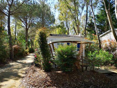 Mobilhaus für ein Liebespaar auf einem Campingplatz